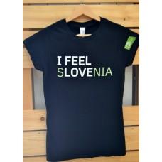 Ženska majica I feel Slovenia črna