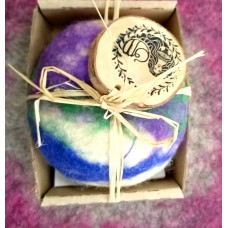Handmade soap dressed in natural sheep,s wool-Lavender