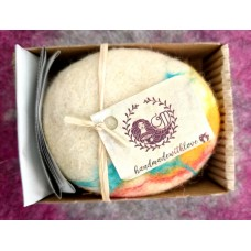 Handmade soap dressed in natural sheep,s wool-Cinnamon