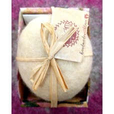 Handmade soap dressed in natural sheep,s wool-goat mil kand chamomile