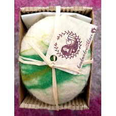 Handmade soap dressed in natural sheep,s wool- hemp and patchouli