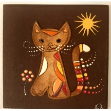 """Clay relief - small """"Cat"""" (brown clay)"""
