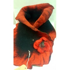 Felted scarf red-black