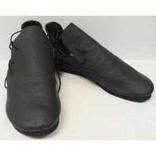 Women black leather shoes