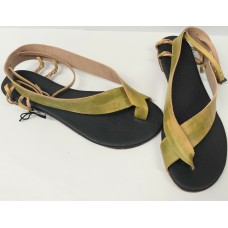Women green leather sandals