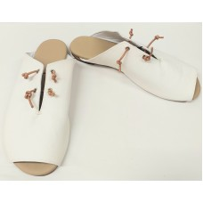 Women white leather slip-on-shoes