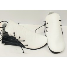 Women white leather shoes