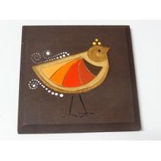 "Glineni relief ""Ptica oranžna"" - majhen (rjava glina)"