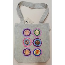 Bag with crocheted flowers