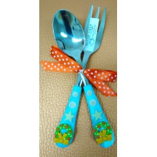 2 Parts Cutlery Set - Christmas wreath