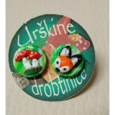 Earrings Fox - mushroom